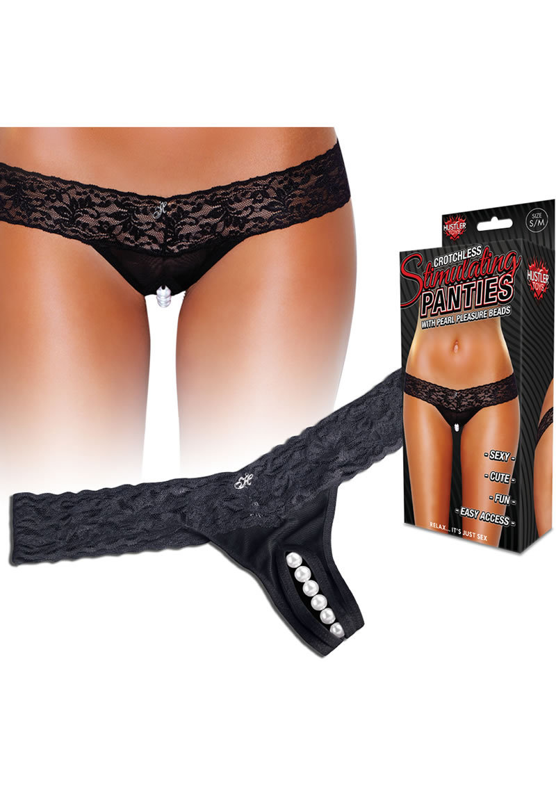 Hustler Toys Crotchless Stimulating Panties Thong With Pearl Pleasure Beads Black Medium/large