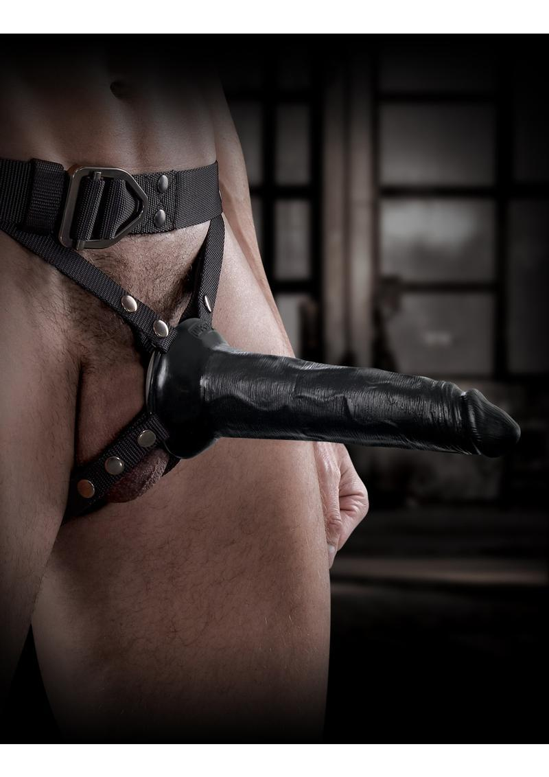 Sir Richard`s Command Harness With Hollow Strap-on Dong Black 8 Inch